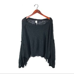 Free people top long bell sleeve gauze thermal S